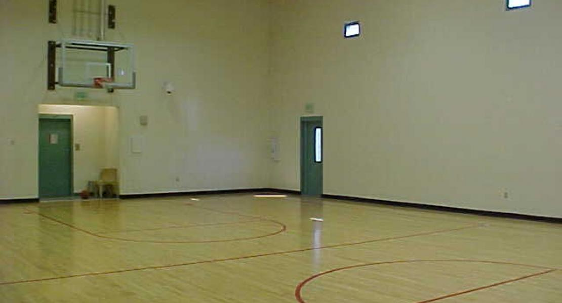 Inside of gymnasium featuring equipment for large muscle exercise and physical education.
